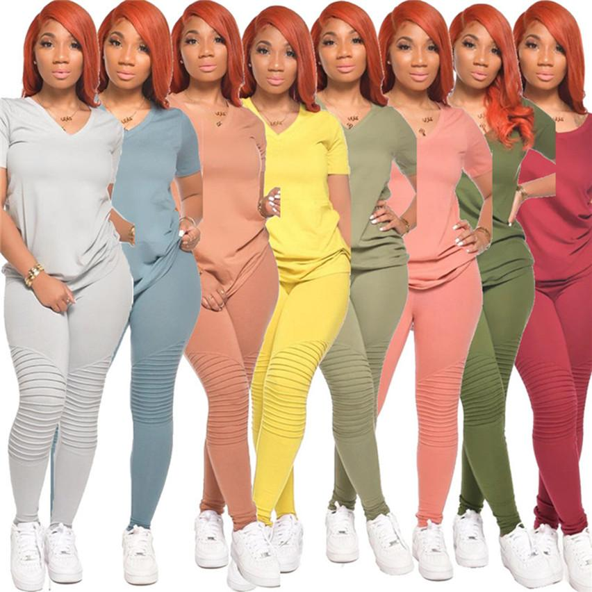 Women Ruched 2 piece sets solid color tracksuits V neck t-shirts pants sweatsuits 2XL Tee Tops Legging Summer Clothing outfits 3543