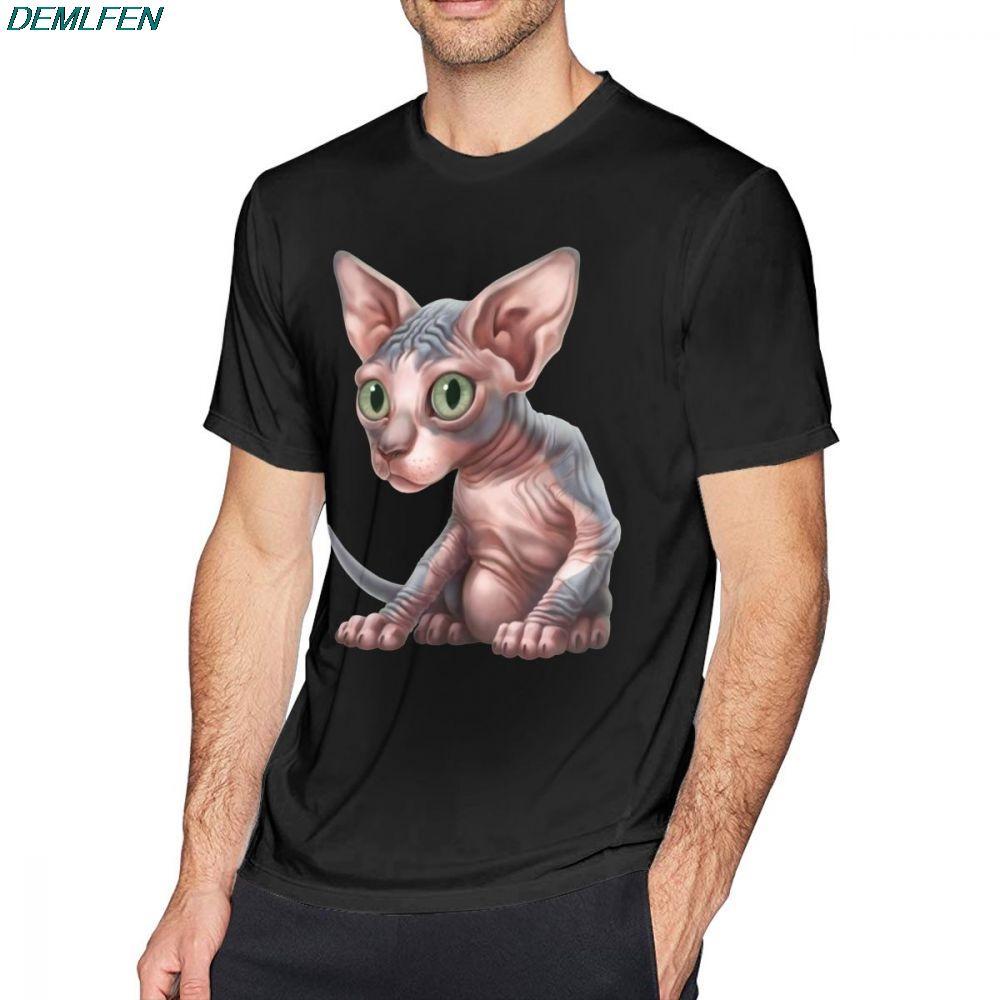 Sphynx Chat T-shirt de chat Un chaton sphynx Clysm classique T-shirt décontracté Homme T-shirt taille graphique plus manches courtes T-shirt en coton