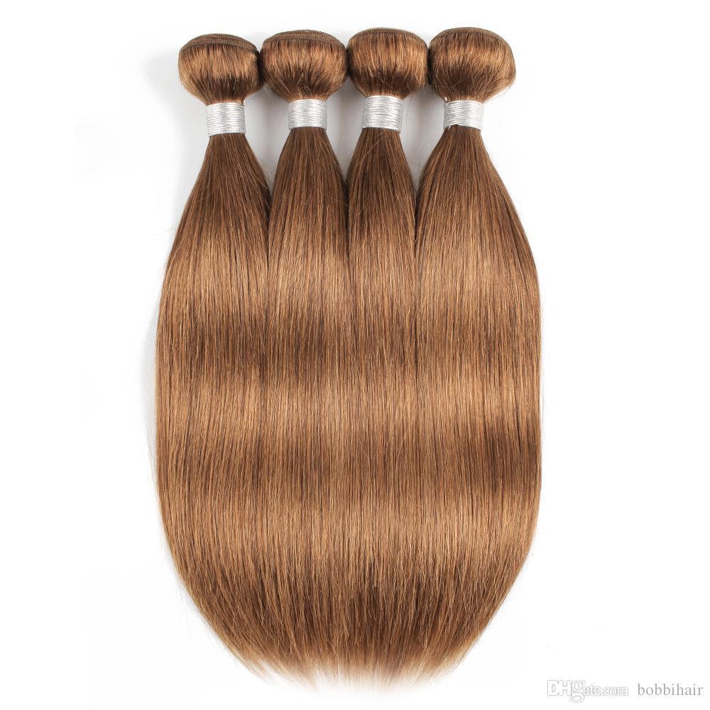 # 30 Golden Light capelli lisci castani umana Bundles brasiliani del Virgin dei capelli 3/4 Bundle 16-24 pollici Remy estensioni dei capelli umani