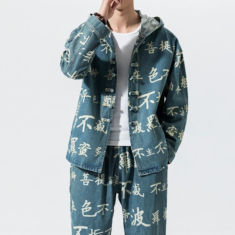 oNebo solto tamanho grande jaqueta jeans chinês moda masculina terno dos homens encapuzados estilo nacional Tang traje jaqueta Tang marca terno fash nacional