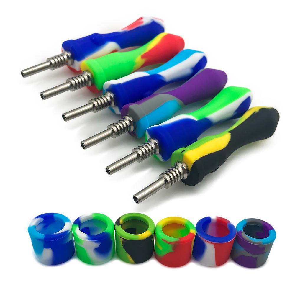 Camels1688 10mm silicone Nectar Collector Mini Pipes eau avec des pointes en acier inoxydable Quartz Nails Concentré Dab Straw Bong Dab Rig