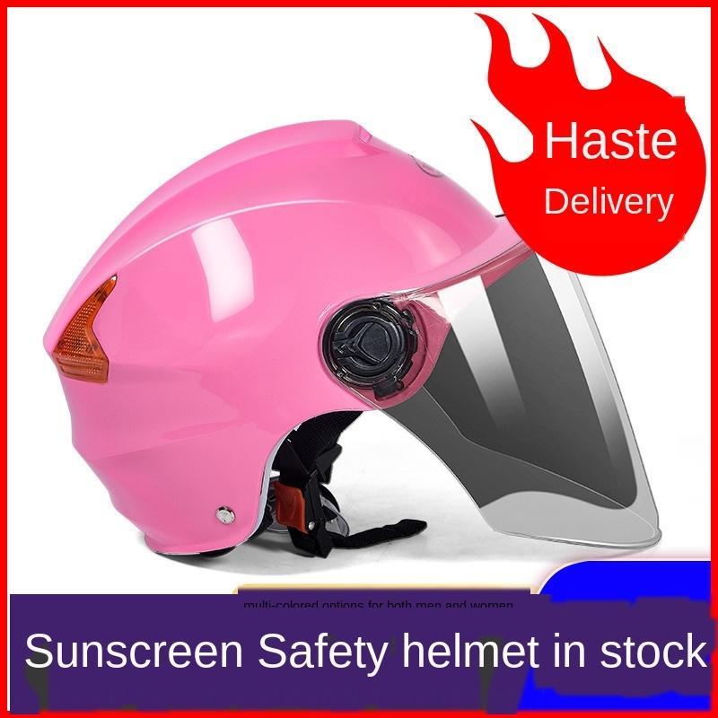 bateria elétrica bateria do carro cinza capacete integral dos homens e das mulheres quatro estações metade protetor solar capacete luz bonito do verão
