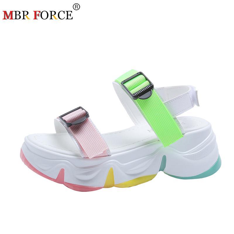 MBR FORZA sandali della spiaggia delle donne 2020 modo di colore della suola spessa Student confortevoli Zeppe casuale in punta aperta Walking Woman Sandals CX200715