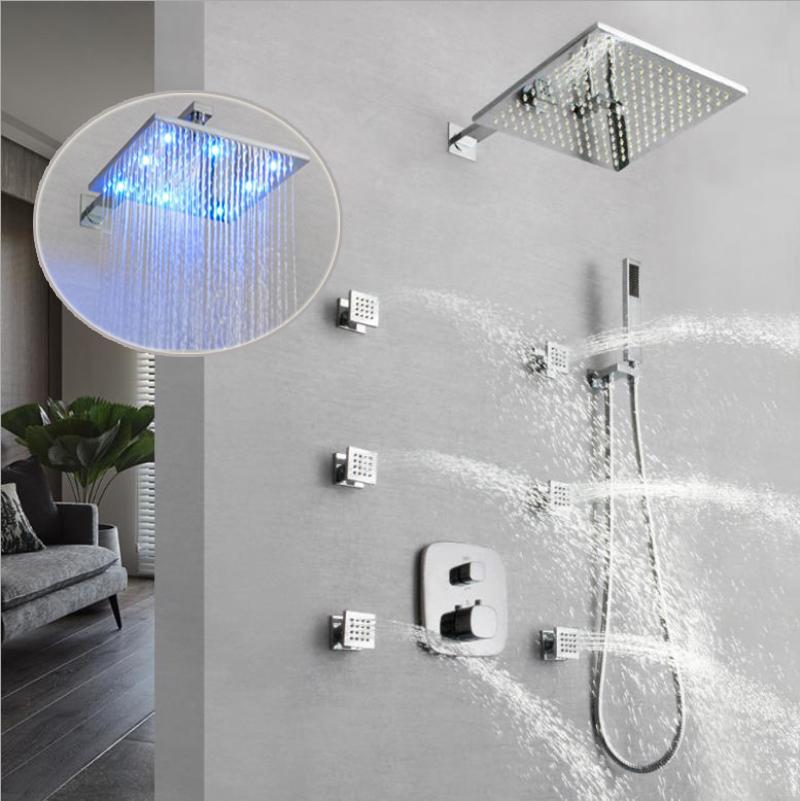 아니 필요 배터리 수력 LED 샤워 헤드 강우 샤워 온도 조절 욕실 샤워 없습니다 수도꼭지 믹서 마사지 바디 제트 높음 흐름