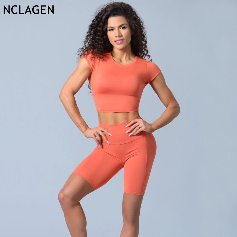 NCLAGEN Йога Set Женщины Sportwear 2 шт Спорт Экипировка Упругие Фитнес костюм Crop Top и короткие Короткие рукава Gym Workout Одежда