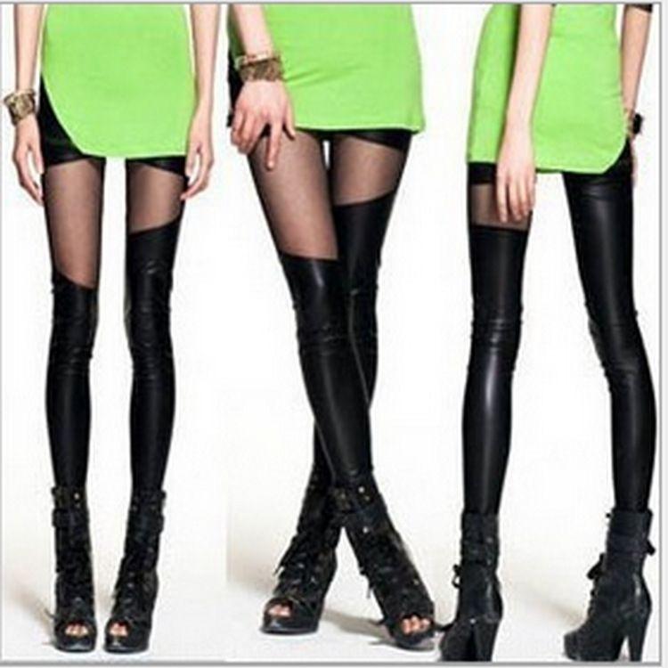 h8DJk malha 2019 imitação de couro costura grandes leggings tamanho das mulheres 2019 imitação de couro de malha costura calças apertadas das mulheres calça apertada