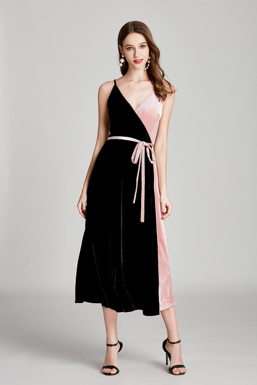 Summer new velvet two-color stitching slit thin belt evening dress thin shoulder belt Prom short