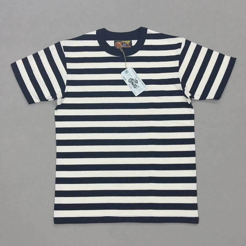 BOB DONG 2сма Stripes Матросские футболки мужских Crew шея Border футболка Тонкого Fit