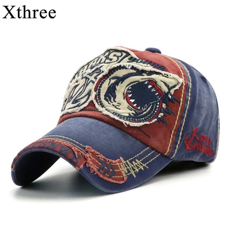 Xthree Nouveau Washed Casquette Fitted Cap Snapback Hat pour les hommes d'os femmes Gorras Casual broderie Shark CX200714 Casquette