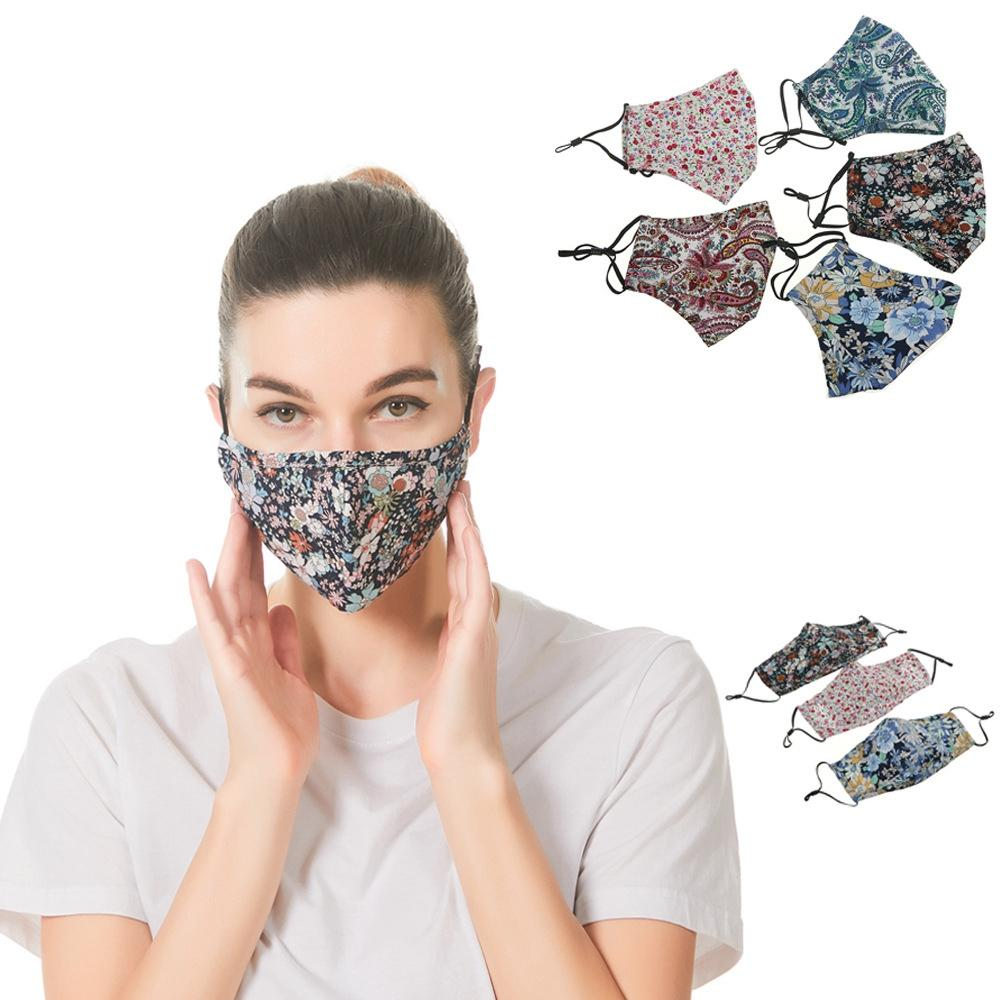 Printed Cotton Face Mask Design Dust Respirator Washable Breathable Adjustable Ear Loop Inserted Pluggable Filter Mouth Cover LJJP215