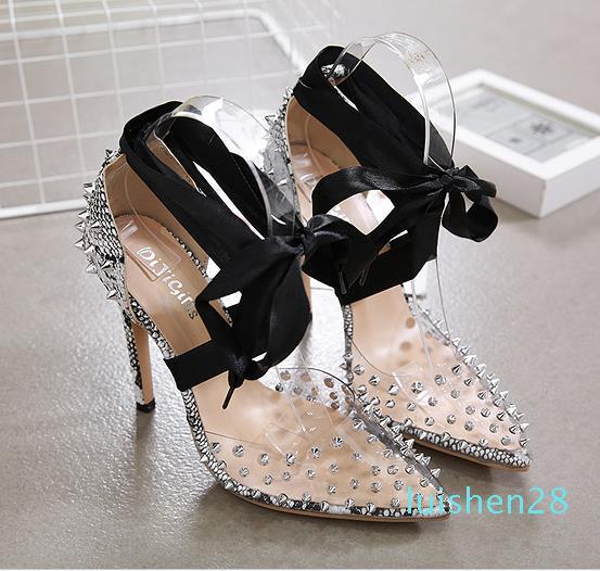 desenhador Mulher sapatos de salto alto cobra grãos rebites pico bombas dedo apontado tamanho de 35 a 40 L28