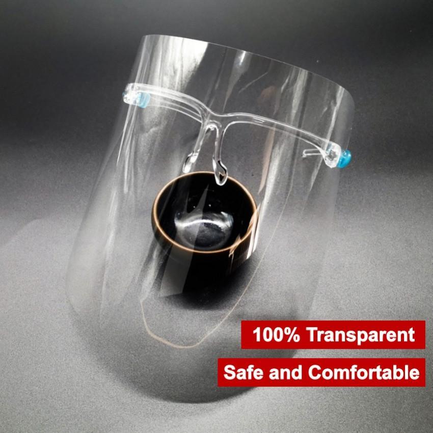 1 giorno nave PET PE PE Trasparente Occhiali trasparenti Bracket Full Face Shield Isolation Isolato Maschera Viso Copertura Faccia