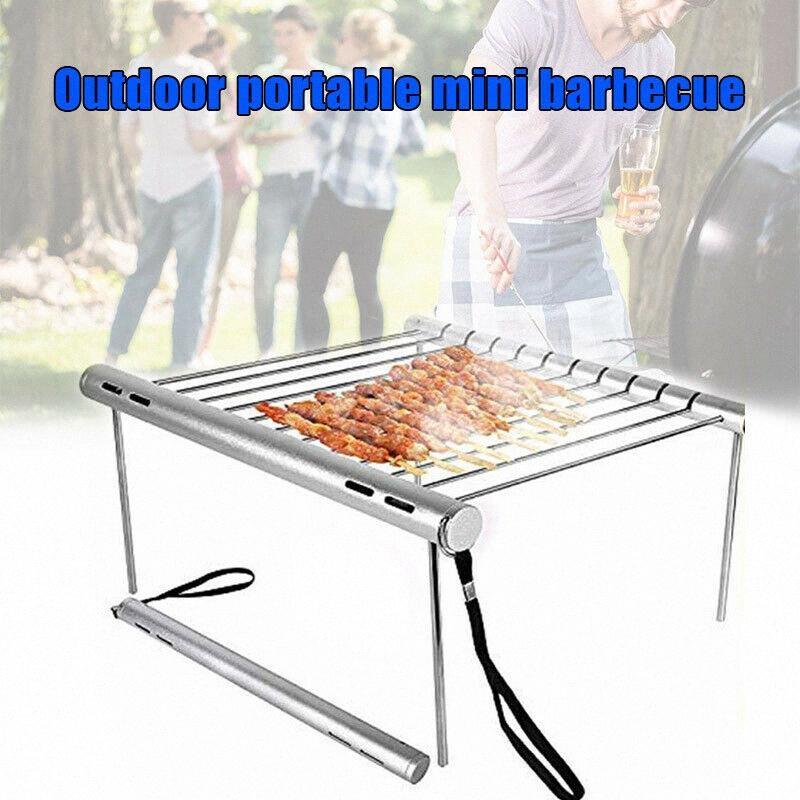 Mini-famille Barbecue Party Grill extérieur Barbecue pliant portable en acier inoxydable Grill Jardin rack Outils de cuisine légère 852h #