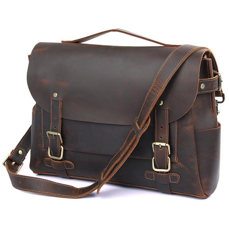 MAHEU moda de cuero bolsa de hombro para el mensajero de 14 pulgadas portátil de diseño de la vendimia Cruzado bolsas de cuero genuino bolso de escuela del niño