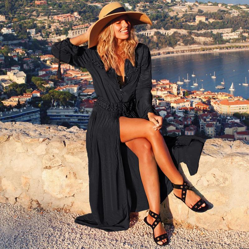 Хлопок Бич Cover Up Long Beach платье Женщины бикини Купальник Cover Up 2020 New Sexy купальники Купальники Cover-Ups Пляжная