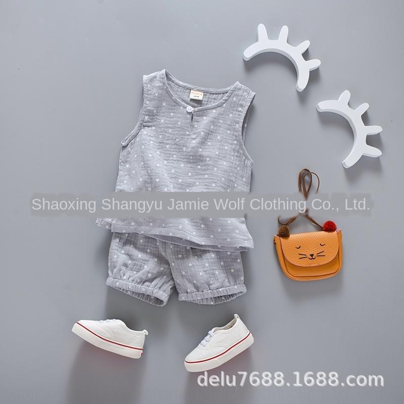 SaxkJ костюм для детей vestKorean Стиль лето 2020 новой звезды рукавов марлевого материал дышащего жилет костюм для детей жилет vestKorean S
