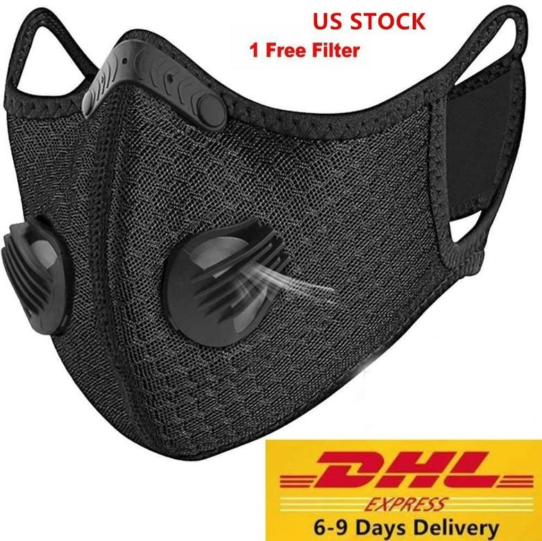 US STOCK Designer Luxus Radfahren Gesichtsmaske mit Aktivkohlefilter PM2.5 Anti-Pollution Sport Running Training Schutz Staubmaske