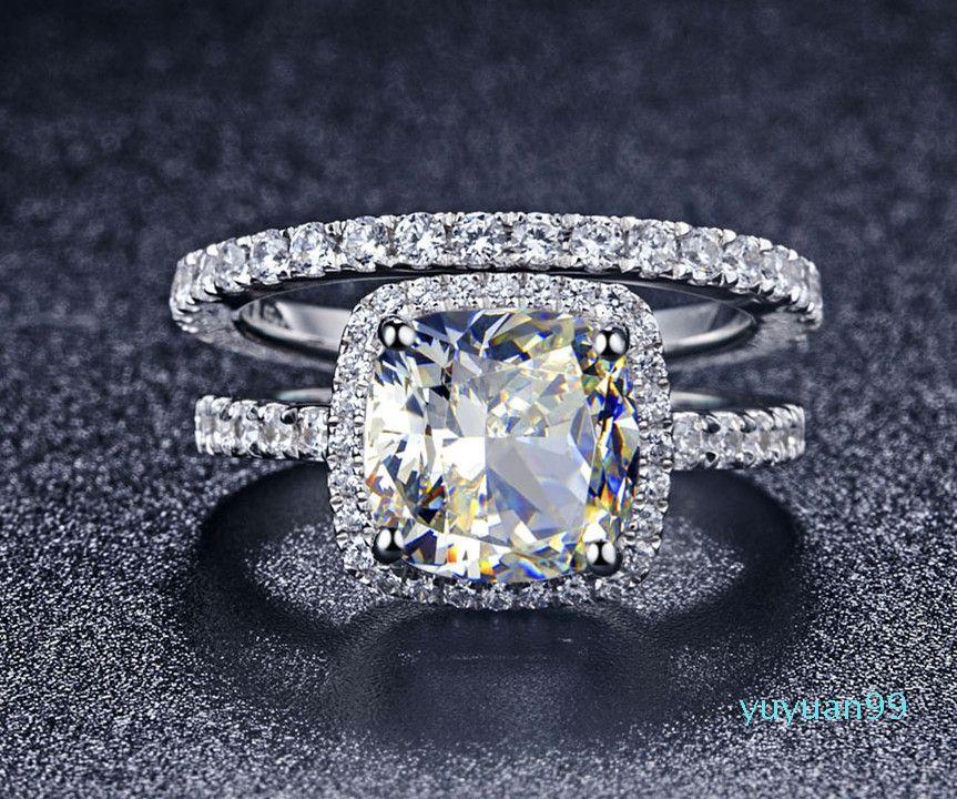 Lusso- qualità NSCD sintetico Gem 3 Carat Cushion Cut Engagement Wedding Ring Set per le donne, sposa di Y19052201