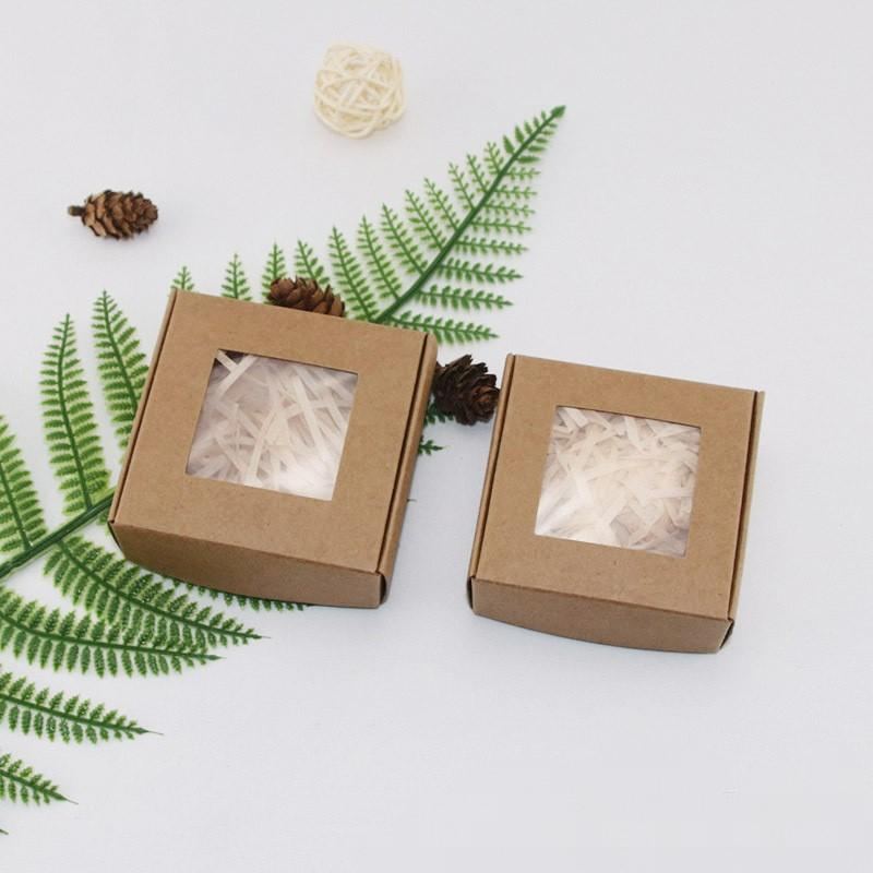 Handmade Soap Kraft Paper Box Trinket Hairpin Jewelry Organizer Lipgloss Containers Transparent Window Packaging Arts Crafts HotSale 1xy D2