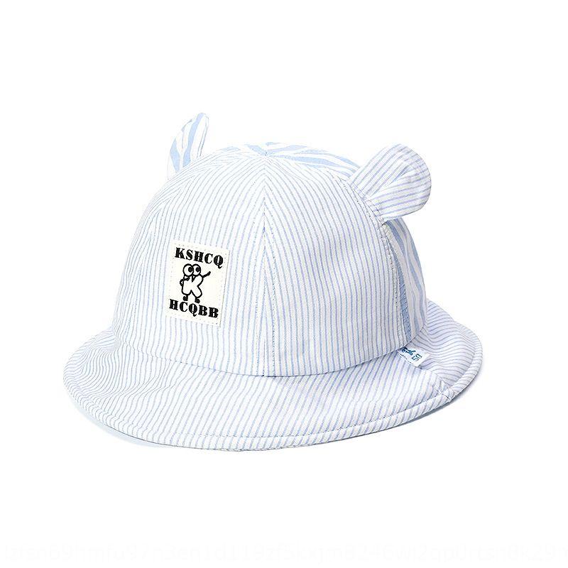 I5NJt младенец рыбака весна и летом Корейский стиль мужской полосатый детской бассейна мило ведро ведра шляпы маленького уха девушка хлопок ВС шляпа с