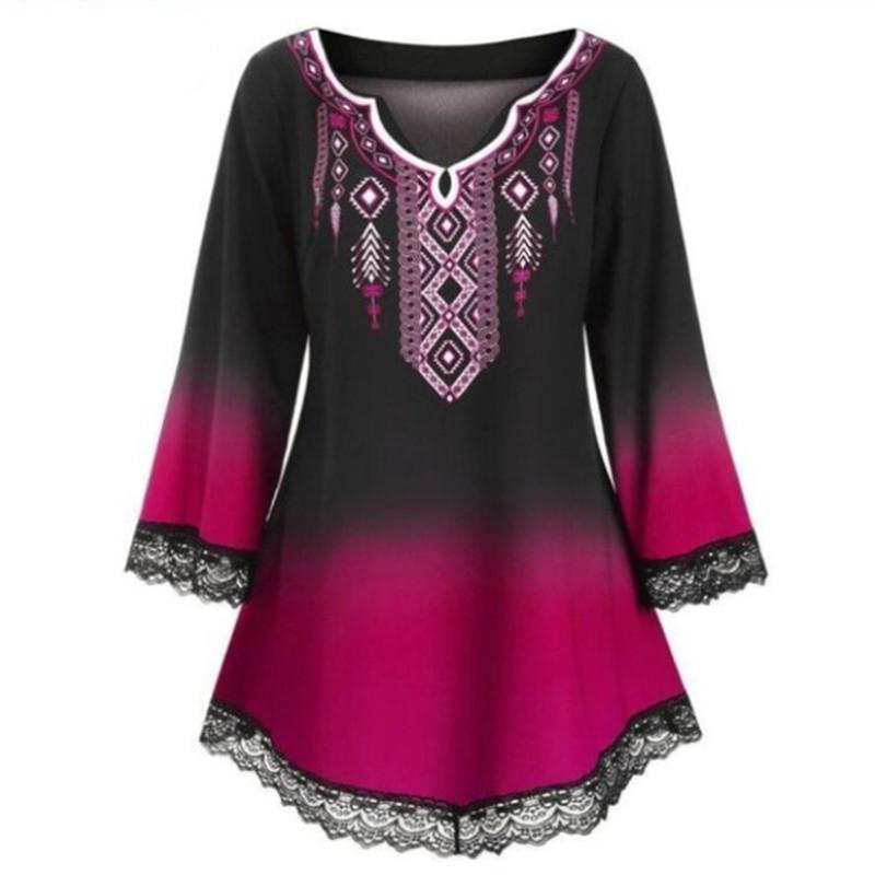Lace Patchworked мусульманская футболки Женщины с длинным рукавом Печать Tshirts 5xl больших размеров Мода Осень Одежда женская Этнические Рубашки MX200721