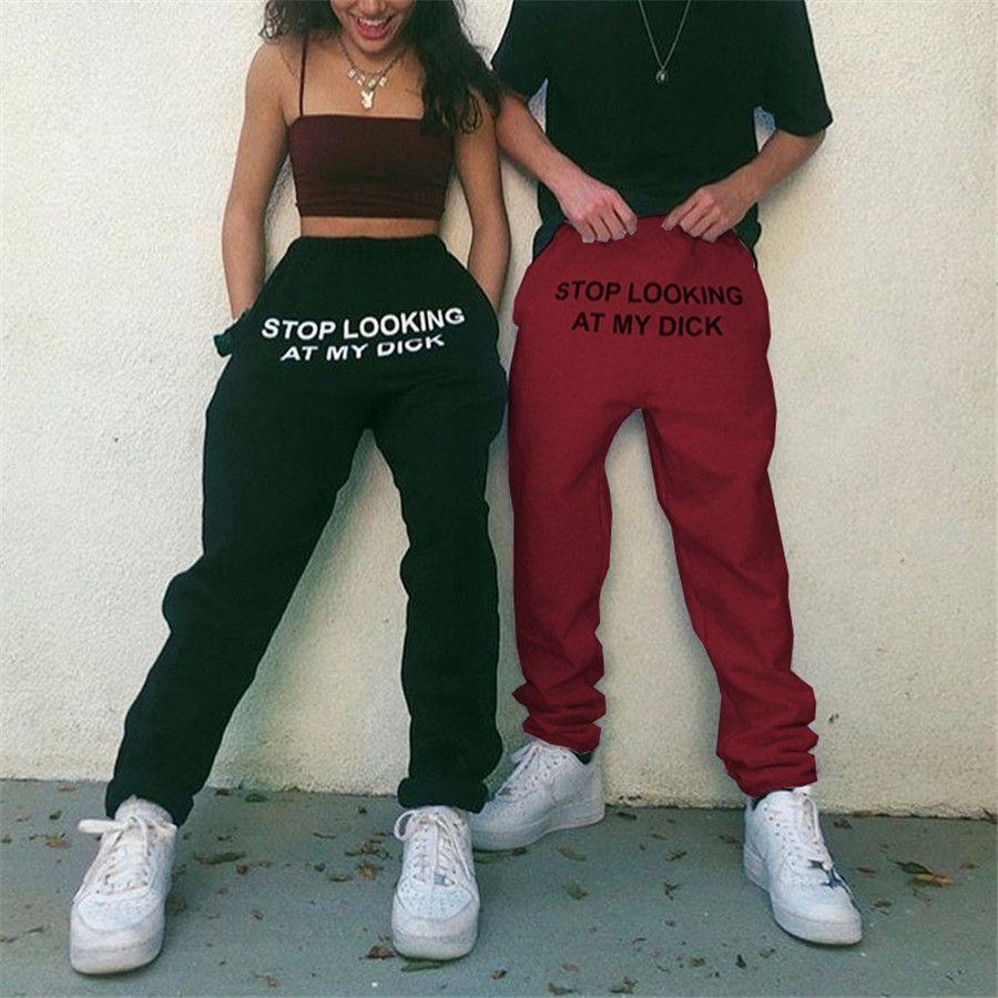 Sweat Pants Letter Print Pantalon Mujer hohe Taillen-Frauen-Taillen-Schwarz-Hosen Hip Hop Lustige Jogginghose lose Femme Y200114 # 394