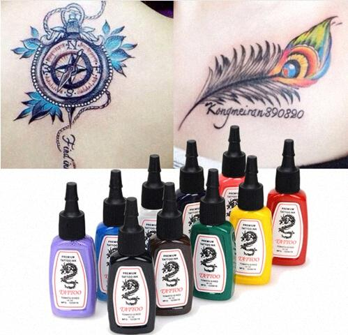 10 colores / Botellas kits determinados pigmento de la tinta del tatuaje de 15ml Body Art Tatuaje 1/2 OZ Professinal Maquillaje tatuaje tintas gratuito de envío 71WS #