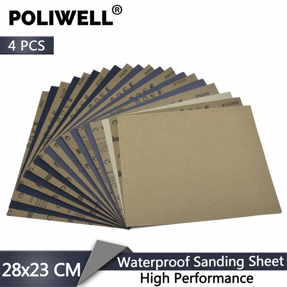 POLIWELL 4 PCS 280x230mm Hochleistungs-Wasserdichtes Schleifpapier Nass- und Trockenschleifpapier für Metall, Holz, Möbel Auto Polier 1SzS #