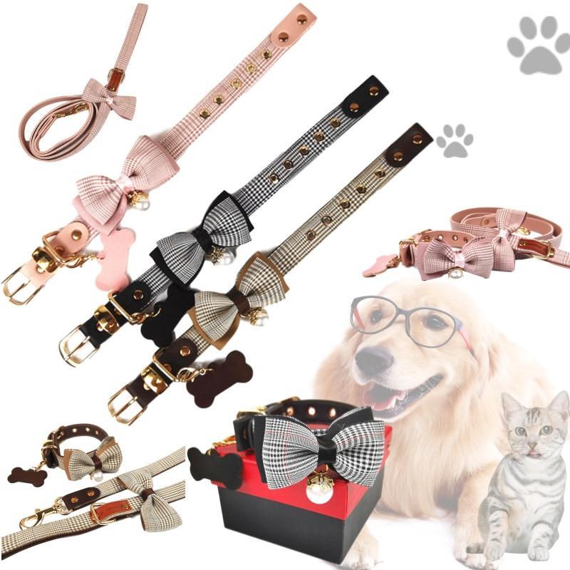Stilvolle Plaid-Muster-Haustier-Kragen-INS Art-Bogen-Knoten-Entwurf Haustier-Leinen All Seasons Schöne Charm Schnauzer Bulldog Halsbänder