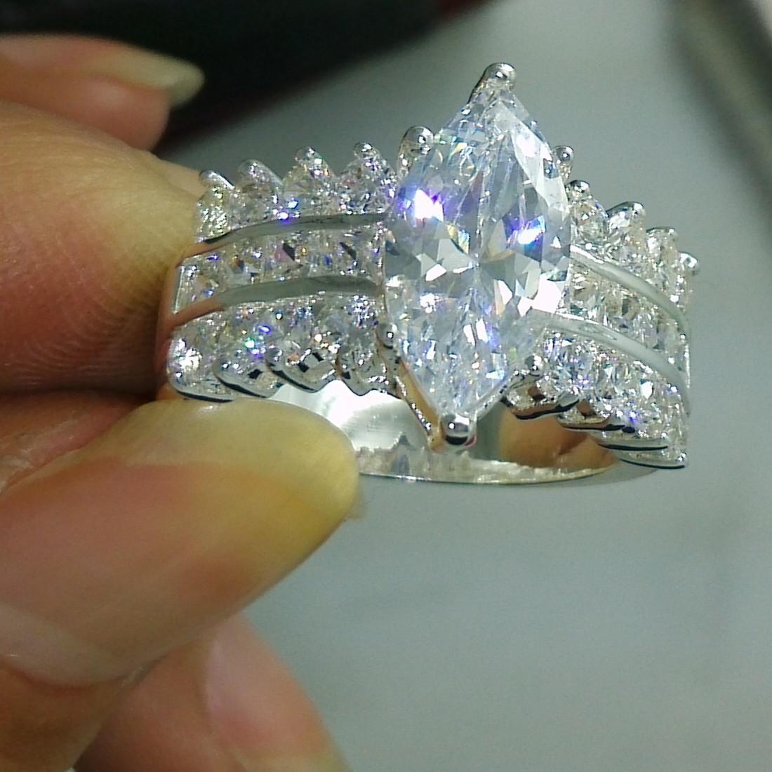 Livraison gratuite bijoux en gros Fahsion 925 argent sterling Topaze blanc CZ femmes cadeau de mariage anneau