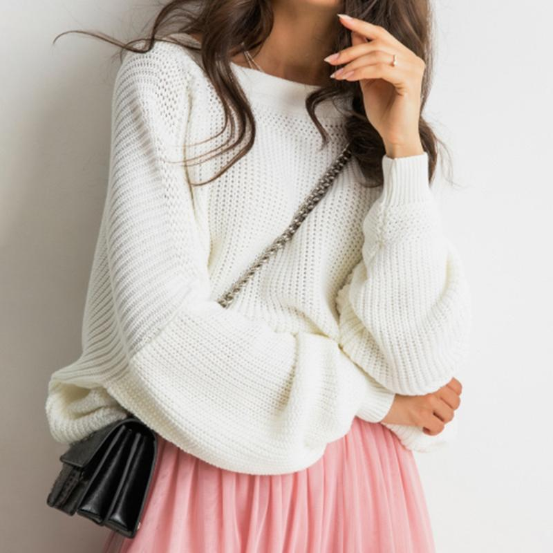 Off Shoulder Autumn Sweater Women Button Sexy Backless Knitted Top Female Tops Batwing Sleeve Pullover Sweaters Jumpers