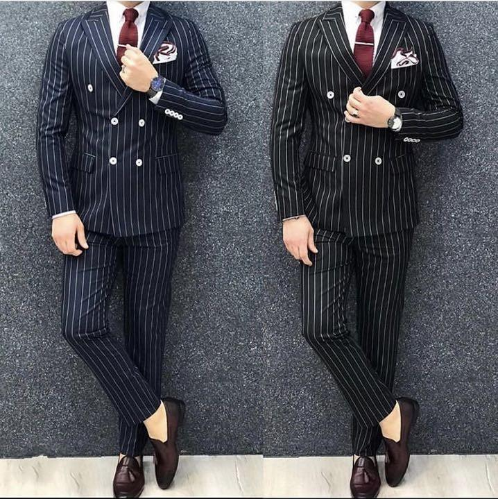 Double Breasted Blue Black Stripe Men Suits Office Business Groom Wedding Men Suits 2 Pieces Trajes De Hombre Terno Masculino
