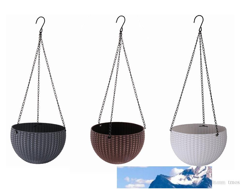 New style 22cm Plastic Resin hanging pots for flower growing, chain basket planter outdoor home decoration pots 3colors