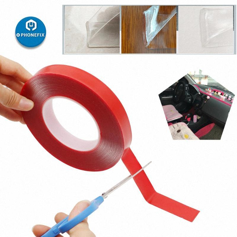 Strong Adhesive PET Red Clear Film Double Side Tape No Trace 3/5/8/10/15/20mm 10M For Phone Tablet LCD Screen Car LCD TV Glass 1kft#