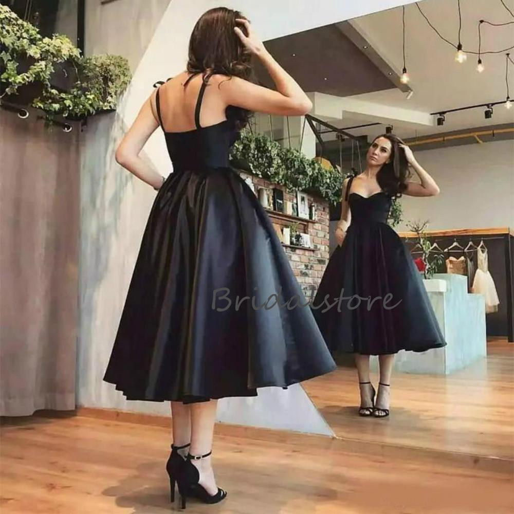 Sexy Black Short Evening Dresses Midi Length A Line Spaghetti Straps Satin Prom Dresses With Pockets Cheap 2020 Formal Cocktail Party Gowns