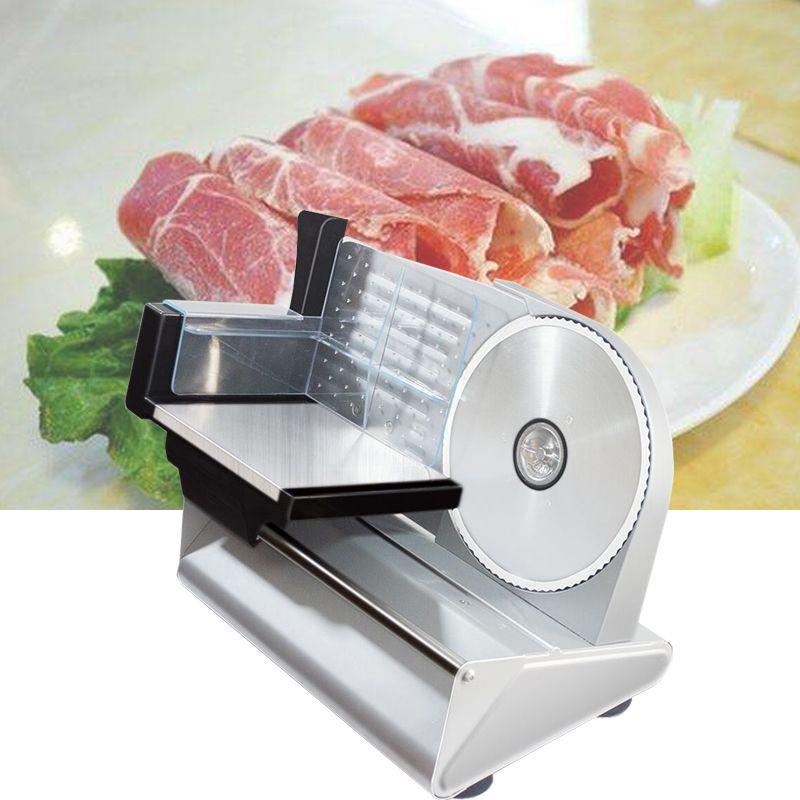 Электрические Мясо Slicer Автоматический слайсер для резки хлеба Машина Съемные сплава нержавеющей стали Нож 200W Регулируемая толщина