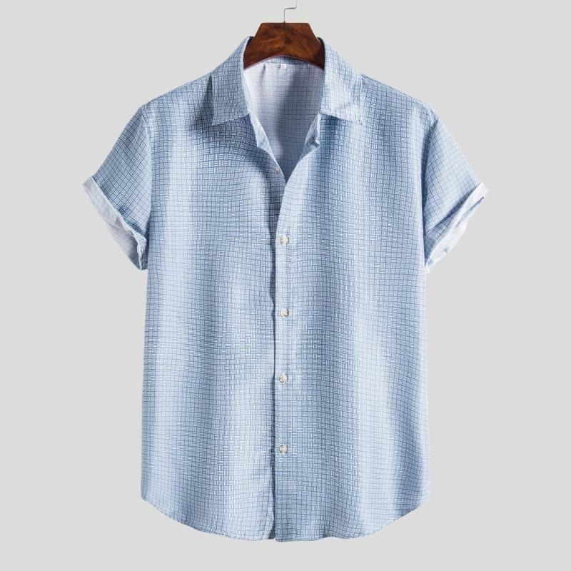 Летние Этническая Мужская рубашка вскользь Гавайские печати с коротким рукавом рубашка Топ Блуза мужской одежды плюс размера Камиз masculina