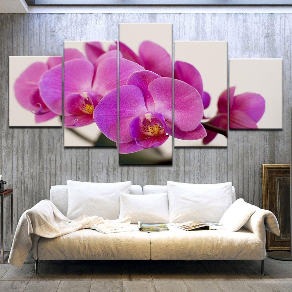 캔버스 벽 예술 사진 인쇄 자주색 난초 5 패널 프레임 벽 장식 최신 벽 예술 모듈 사진 캔버스 회화