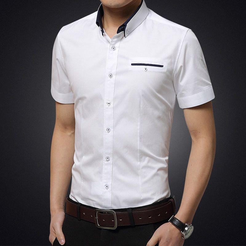 Männer Casual Hemden 2021 Ankunft Marke Sommer Business Shirt Kurze Ärmeln Abnahmekragen Tuxedo Männer Große Größe 5XL -8