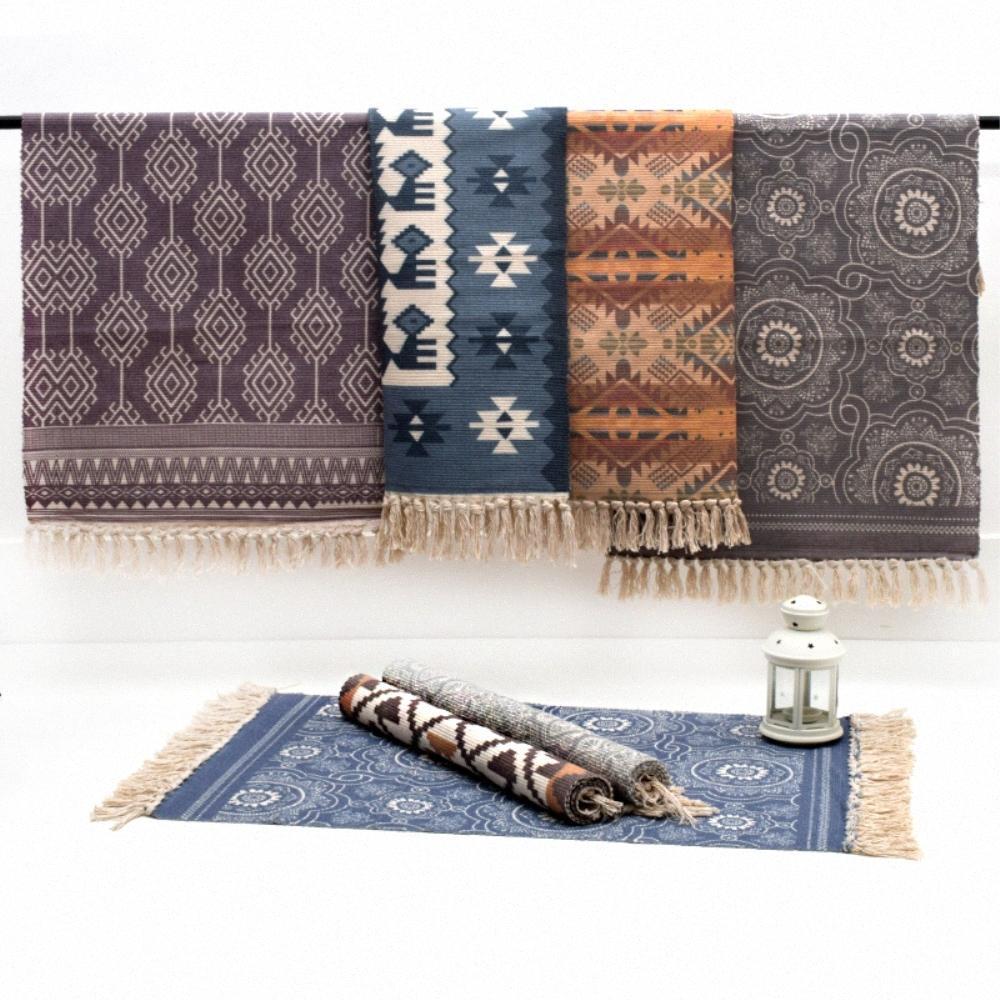 RAYUAN Nordic Style-Woven Cotton Teppich Teppich Wohnzimmer Schlafzimmer Nacht Tatami Bodenmatte Staub-Beweis Mats 60x90CM 60x130cm yj1v #