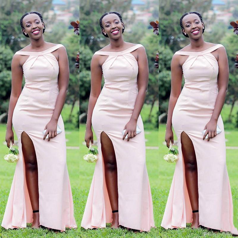 Africaine de Split sirène longue de demoiselle d'honneur robes à encolure dégagée Taille Plus Invité de mariage Robes demoiselle d'honneur Robes de bal Robes Party
