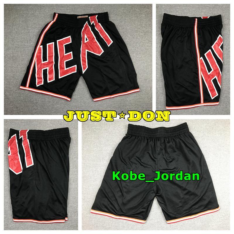 Mens JUSTE DON Pocket Basketball Shorts Cousu Mitchell Ness Big Face Pocket MiamiChaleurShorts doublure en maille sport Sweatpants