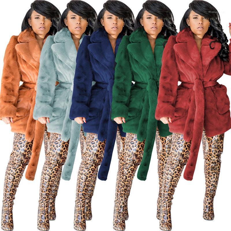 Neck Wärme Thick Womens Designer-Pelz-Gürtel Cardigan Fleece Fest Farbe Winter-Frauen Fur Langarm Revers