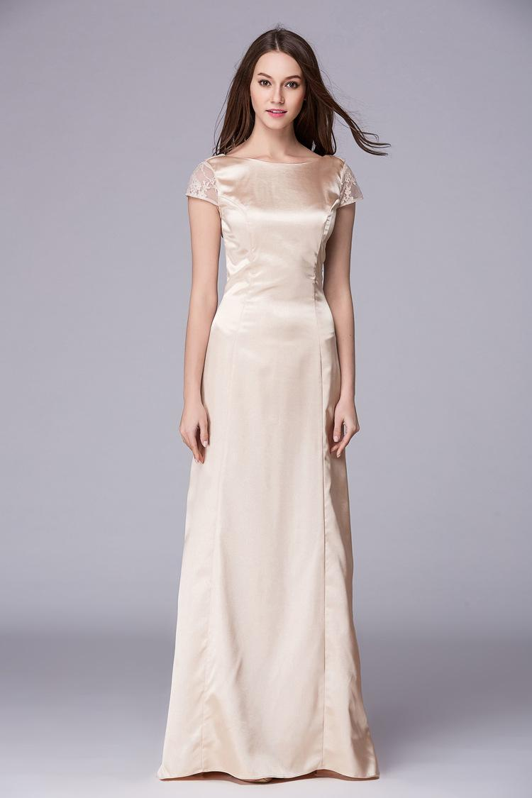 Сатиновые кружева Элегантное Безнеслозное Длинное Платье Платье Платье Платье Slim BrideMaid Платье Особые случаи Платья