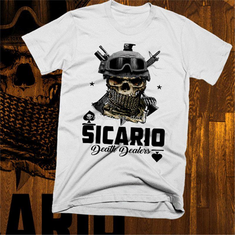 القتلة المأجورين المخدرات قاتل تي شيرت إل تشابو المكسيكي كارتل ميديين بابلو اسكوبار المحملة الكبيرة المحملة طويل قميص