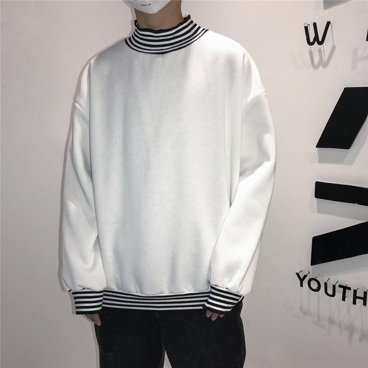 Autumn and winter men's high-collar striped long-sleeved sweater pullover Top pullover youth loose top trendy casual coat