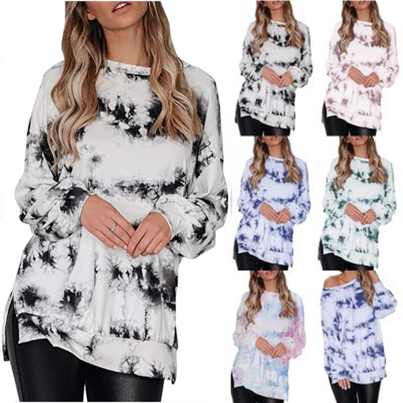 la ropa china de las mujeres más el tamaño de Cold Shoulder Top Dividir manga farol camiseta de la ropa del tinte del lazo