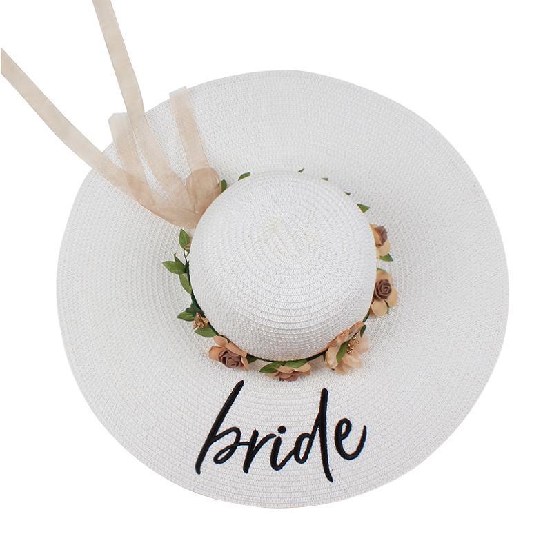 nova noiva casamento de praia disquete Flores Sun Chapéus Honeymoon dama de honra dama de honra do chá de panela do partido chapéu de palha do verão Y200716