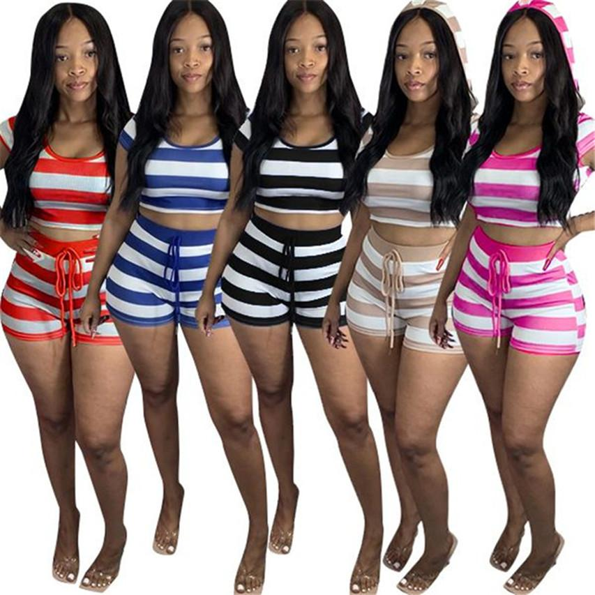 Women Summer designer hooded Sportswear T-Shirt + Shorts two Piece Set Tracksuits Casual striped Short Sleeve+Legging Jogger Suit DHL 3560