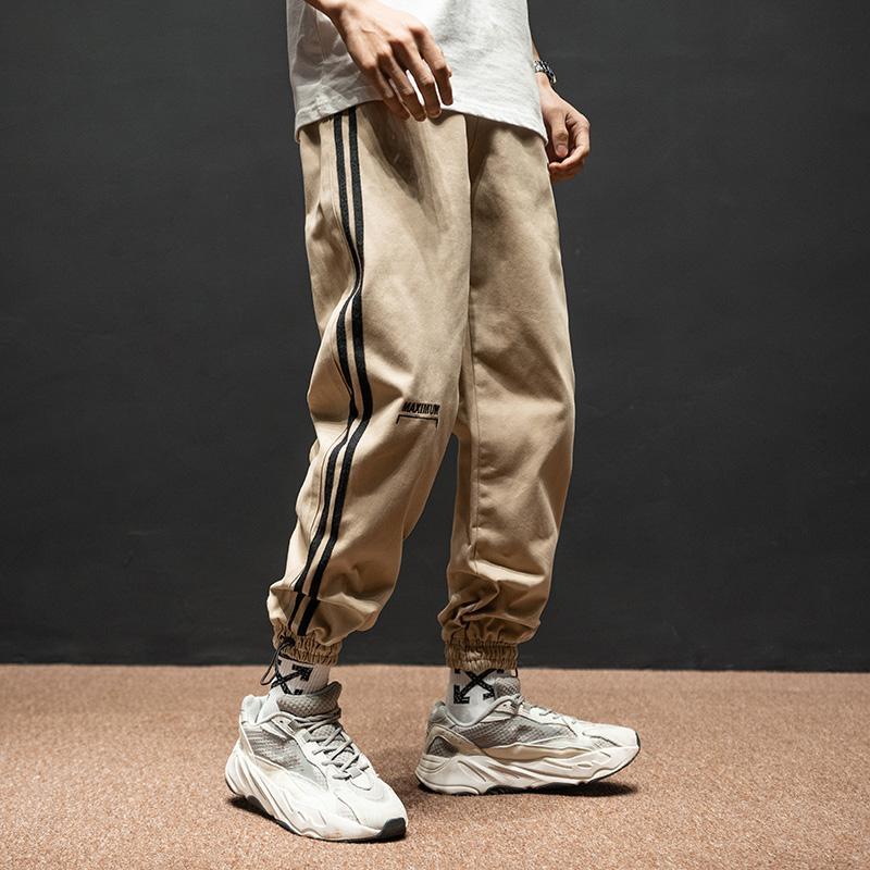 Men's Jeans Fashion Streetwear Men Loose Fit Side Stripe Designer Casual Cargo Pants Hombre Army Green Khaki Hip Hop Joggers